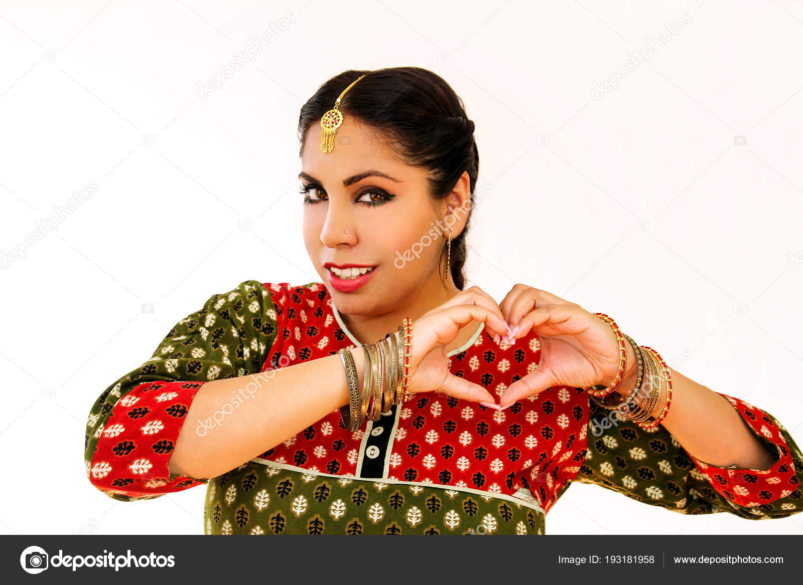 Woman dancing Indian dance in national dress  A beautiful