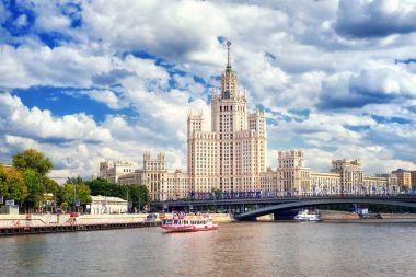 Stalinist skyscraper on Moskva river, Moscow, Russia