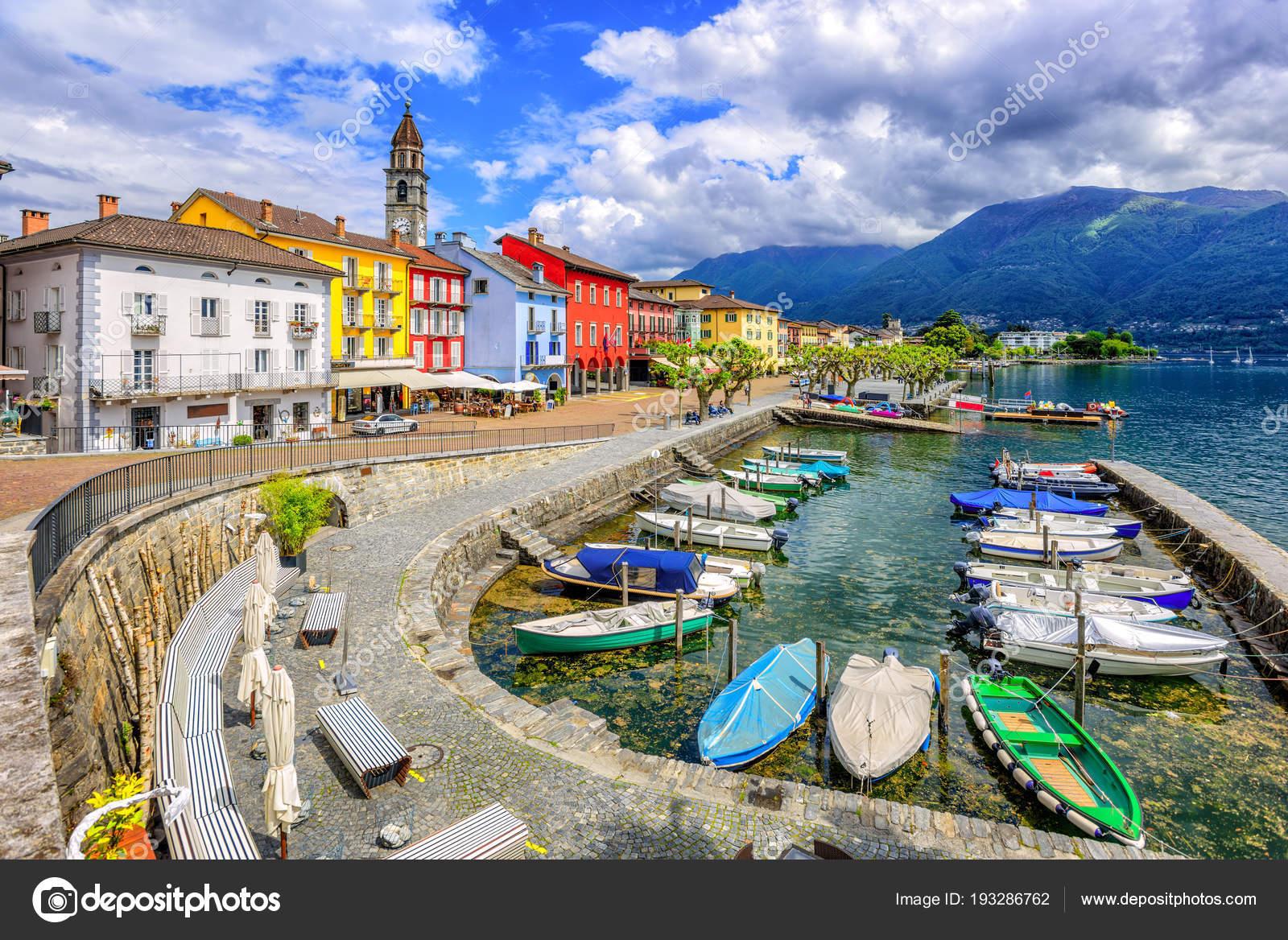 Обои Пейзаж, причалы, лодки, ticino, швейцария, дома, ascona, набережная. Города foto 14