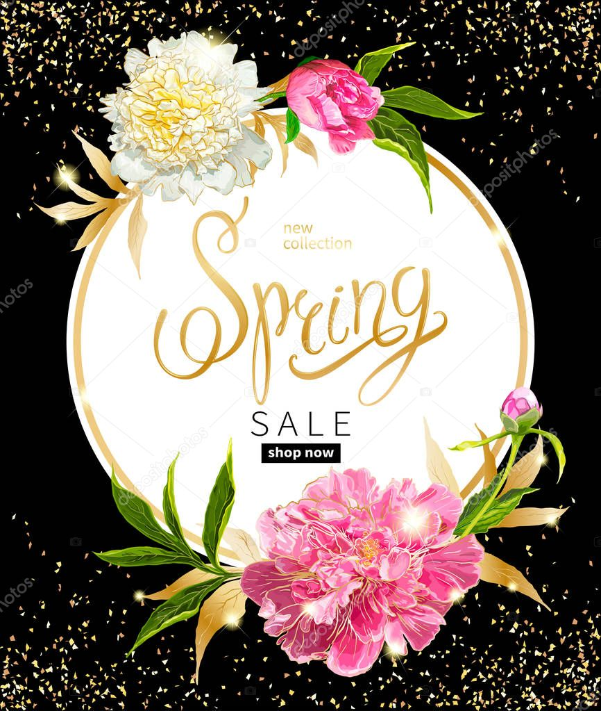 Spring collection background with peones