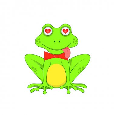 Love the frog with a bow on white background isolated