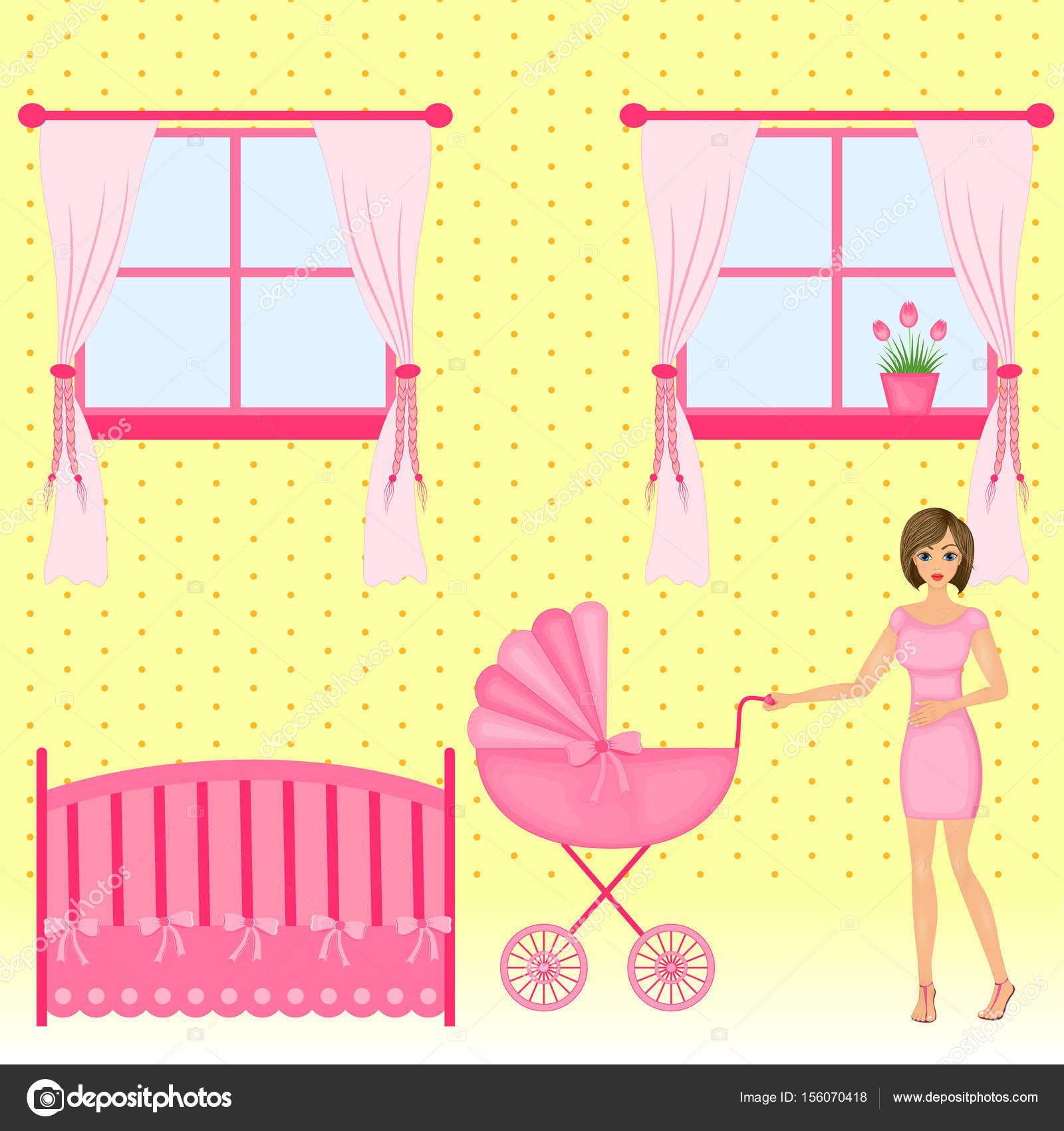 Baby Innenraum Flaches Design Neugeborenes Babyzimmer Mit Fenster