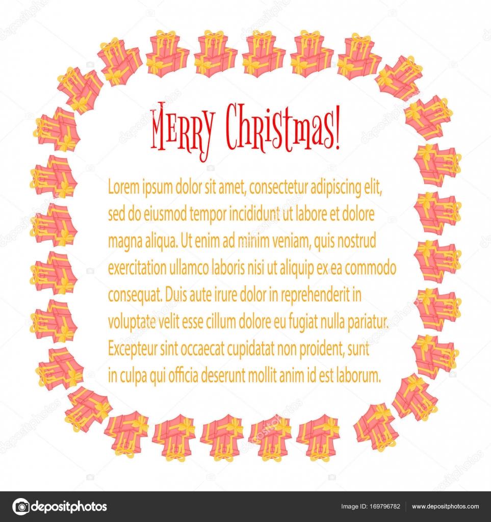 Rahmen für ein Foto. Karten mit Weihnachtsgeschenken. Niedliche ...