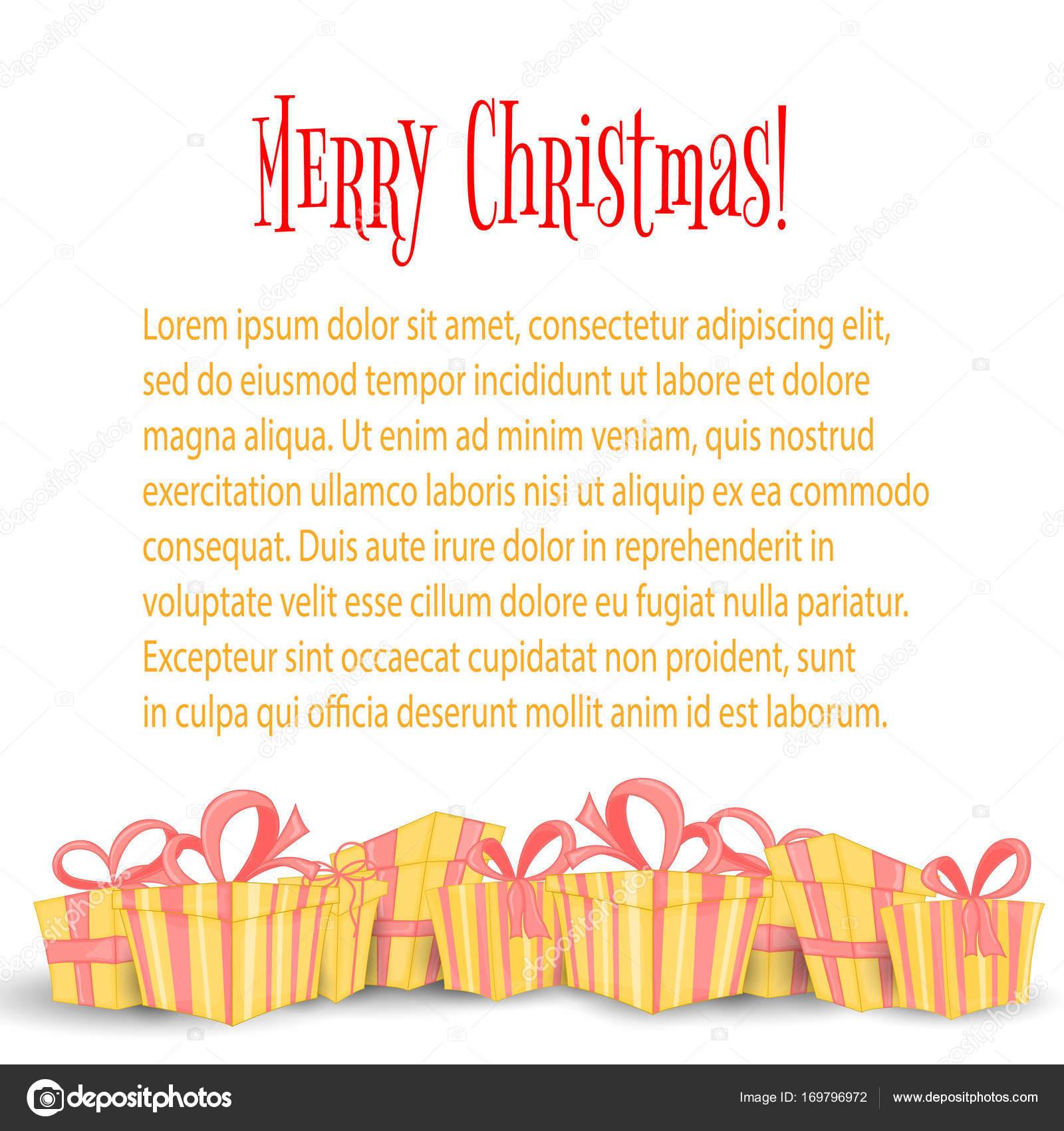 Karte, das Banner mit Weihnachtsgeschenken. Niedliche Boxen für ...