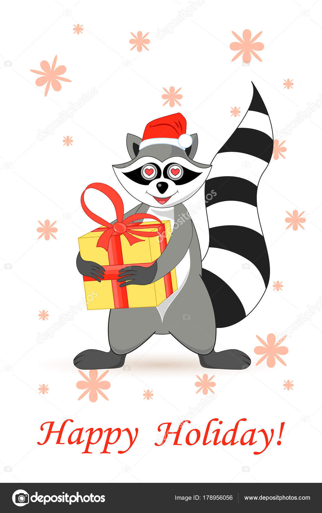 Raccoon a gargle postcard greetings for the holiday stock vector raccoon a gargle postcard greetings for the holiday stock vector kristyandbryce Images