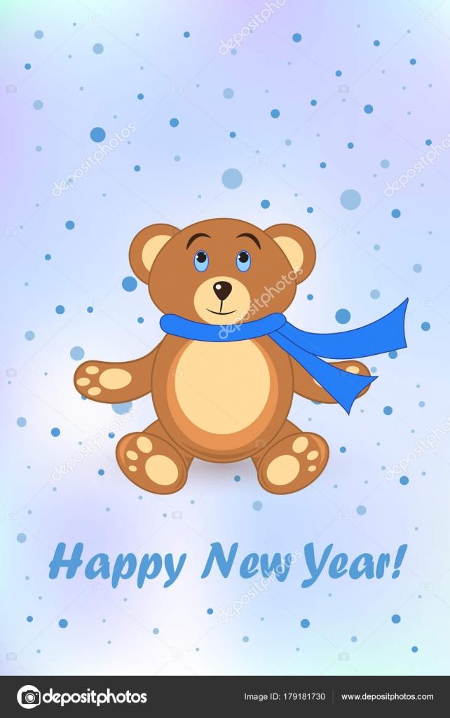 Grüße Frohe Weihnachten.Bär Teddy Postkarte Grüße Frohes Neues Jahr Und Frohe Weihnachten
