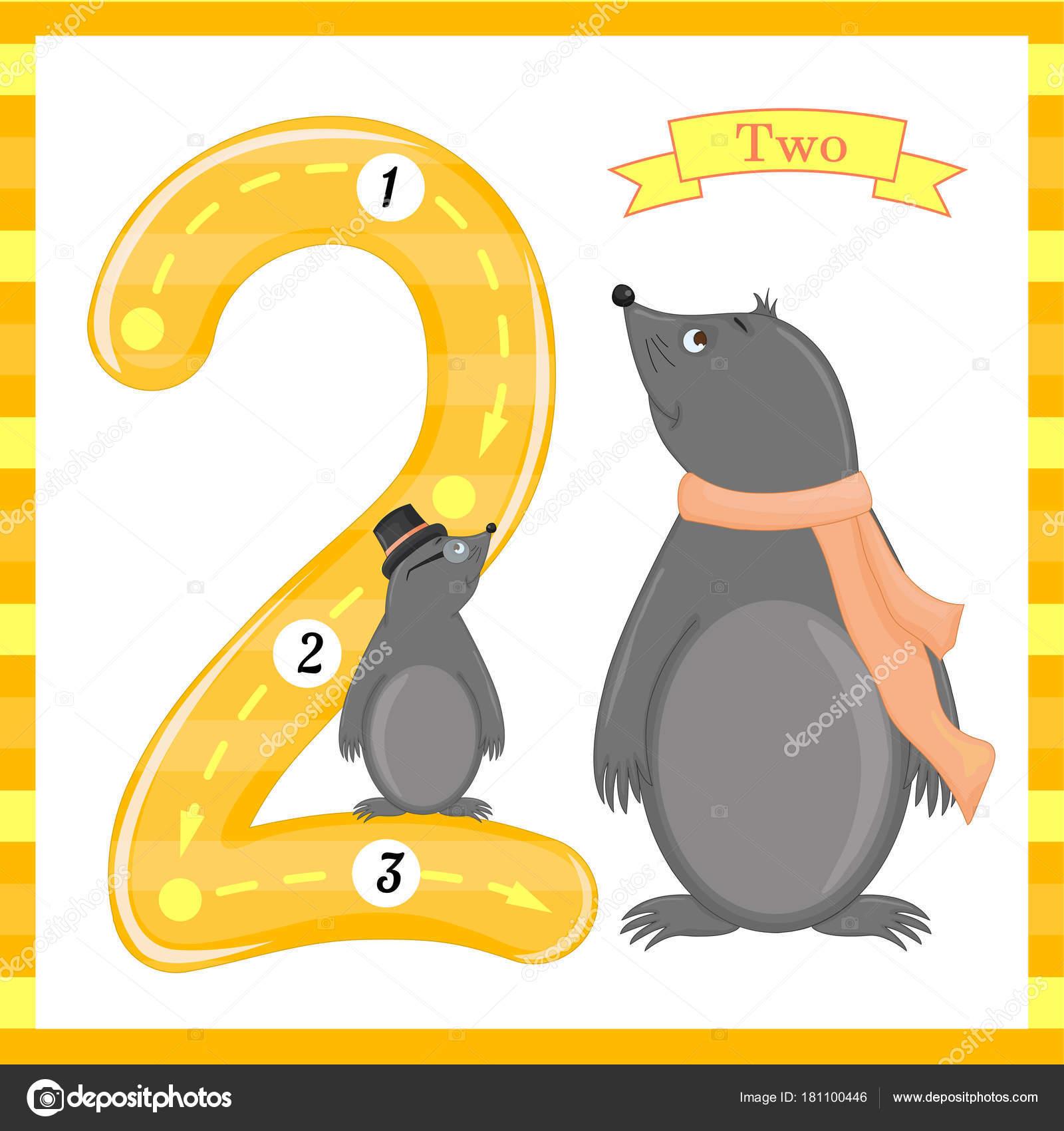 Süße Kinder Flashcard Nummer eins Tracing mit 2 mol für Kinder ...