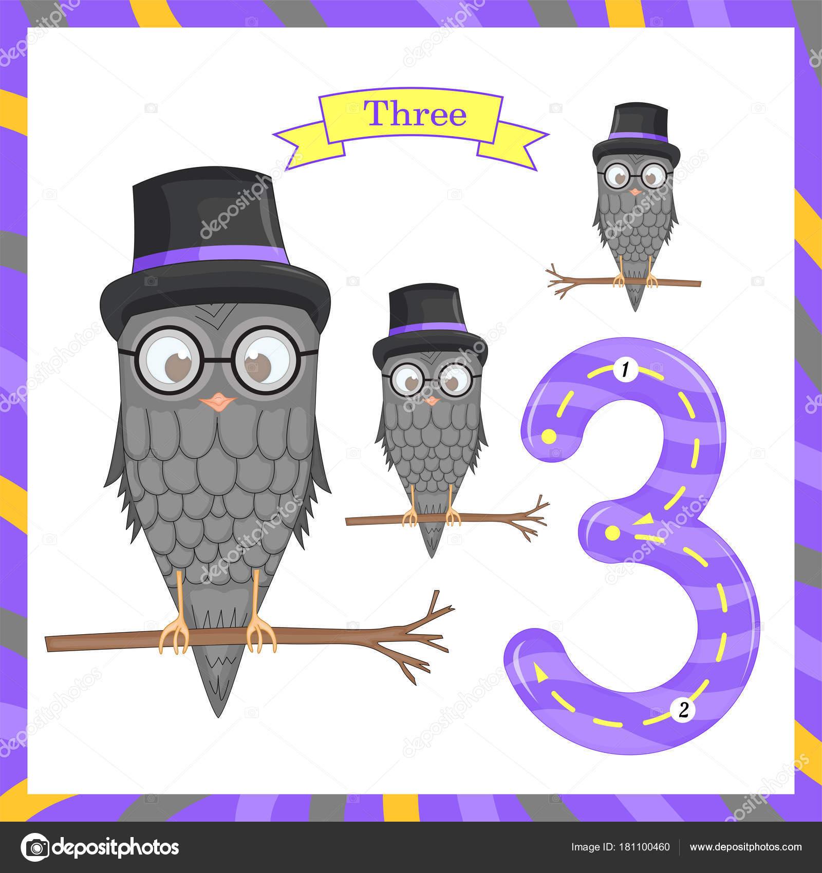 Süße Kinder Flashcard Nummer eins Tracing mit 3 Eulen für Kinder ...