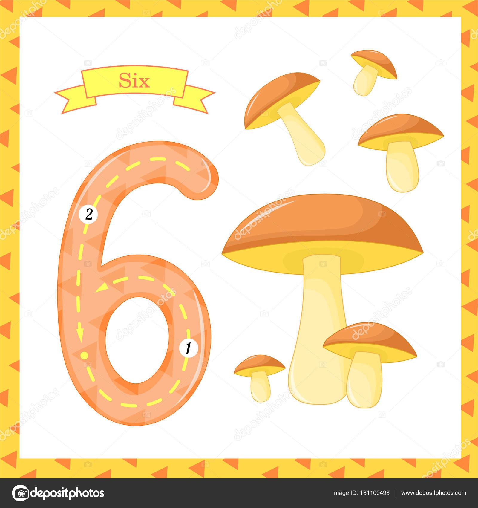 Süße Kinder Flashcard Nummer eins Tracing mit 6 Pilze für Kinder ...