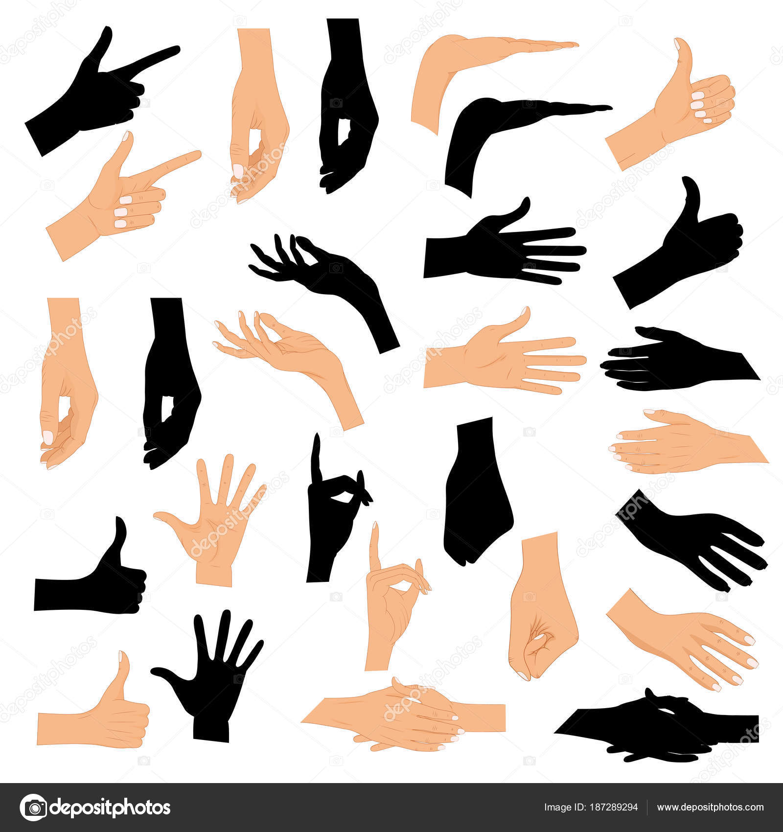 Set Hands In Different Gestures With A Black Silhouette Isolated On