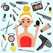 Mädchen umgeben von Schönheitsprodukten. Cartoon-Stil. Vektorillustration.