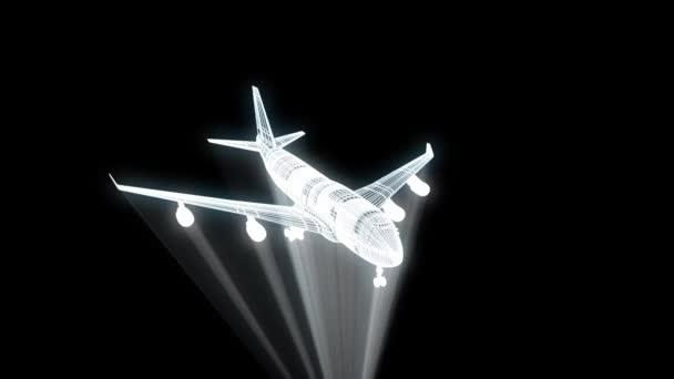 Tryskové letadlo ve stylu drátového modelu Hologram. Pěkný 3d vykreslování