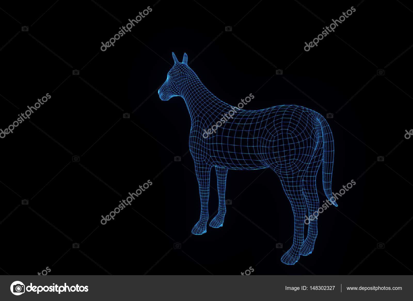 Pferd im Hologramm Wireframe-Stil. Schönes 3d Rendering — Stockfoto ...