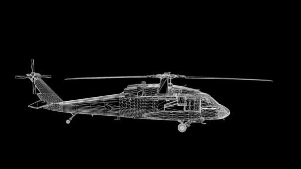 Drátový model vrtulníku Hologram v pohybu. Pěkný 3d vykreslování