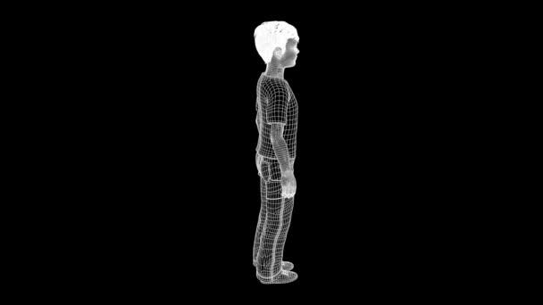 Kind menschlichen Wireframe-Hologramm in Bewegung. Schönes 3d Rendering