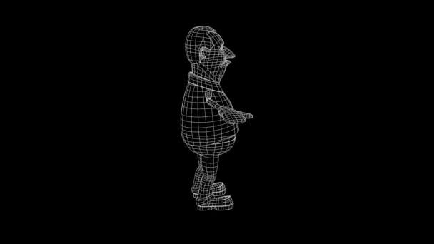 Dicke Männer menschliche Wireframe-Hologramm in Bewegung. Schönes 3d Rendering