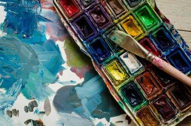 "Картина, постер, плакат, фотообои ""кисть художника и акварель картина цветы"", артикул 318347964"