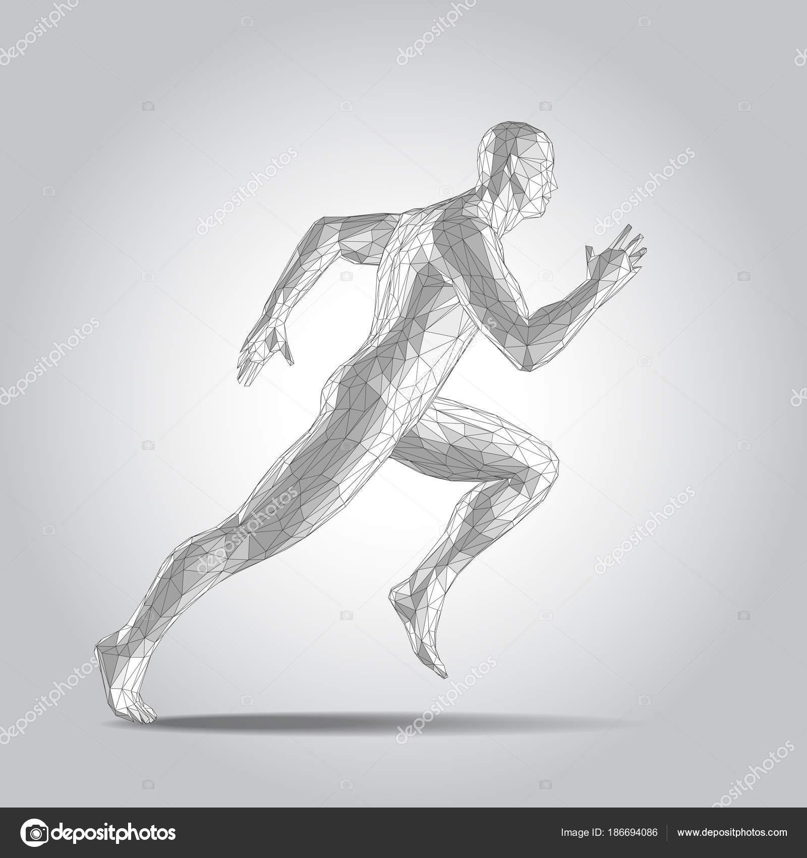 polygonale menschliche Körper in 3D. Sprinter, die Abbildung auf ...