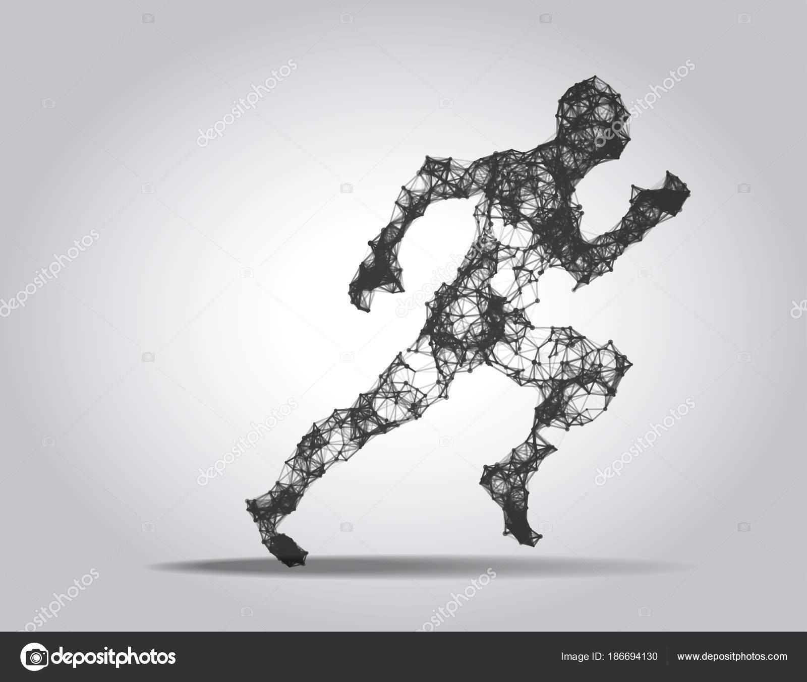 Polygonale laufen Mann Figur auf weißem Hintergrund — Stockvektor ...