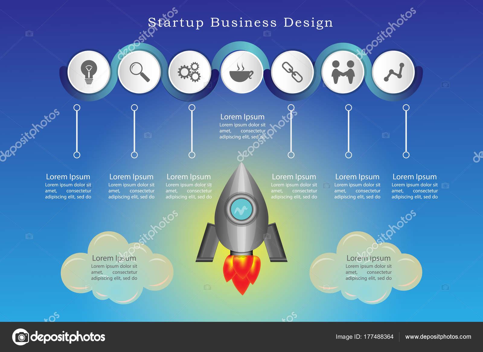 Start Unternehmen Design Rakete Für Powerpoint Präsentation Teil ...