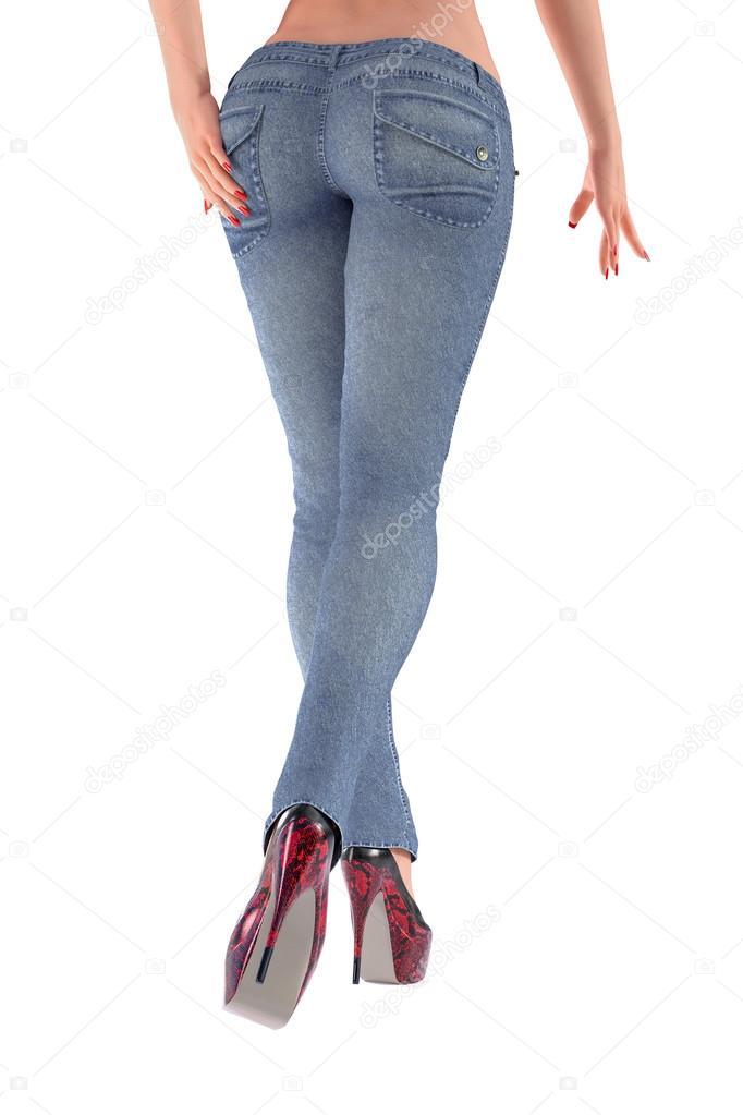 Сексуальная девушка с ножками в джинсах