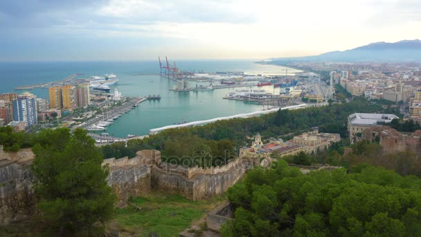 4k UHD video of Malaga Port with Malaga City in Background