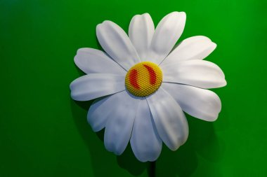 Large artificial daisy on a green wall background