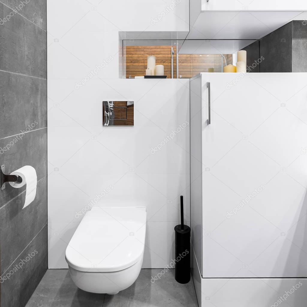 Fürdőszoba, fehér és szürke — Stock Fotó © in4mal #129104546