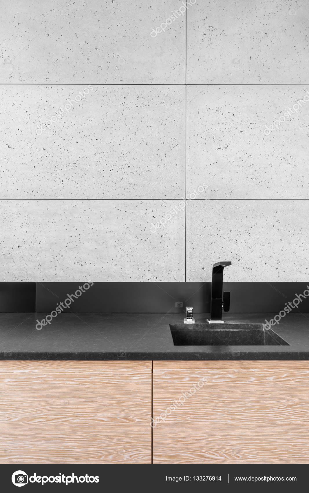 Moderne Küche Mit Grauen Fliesen U2014 Stockfoto