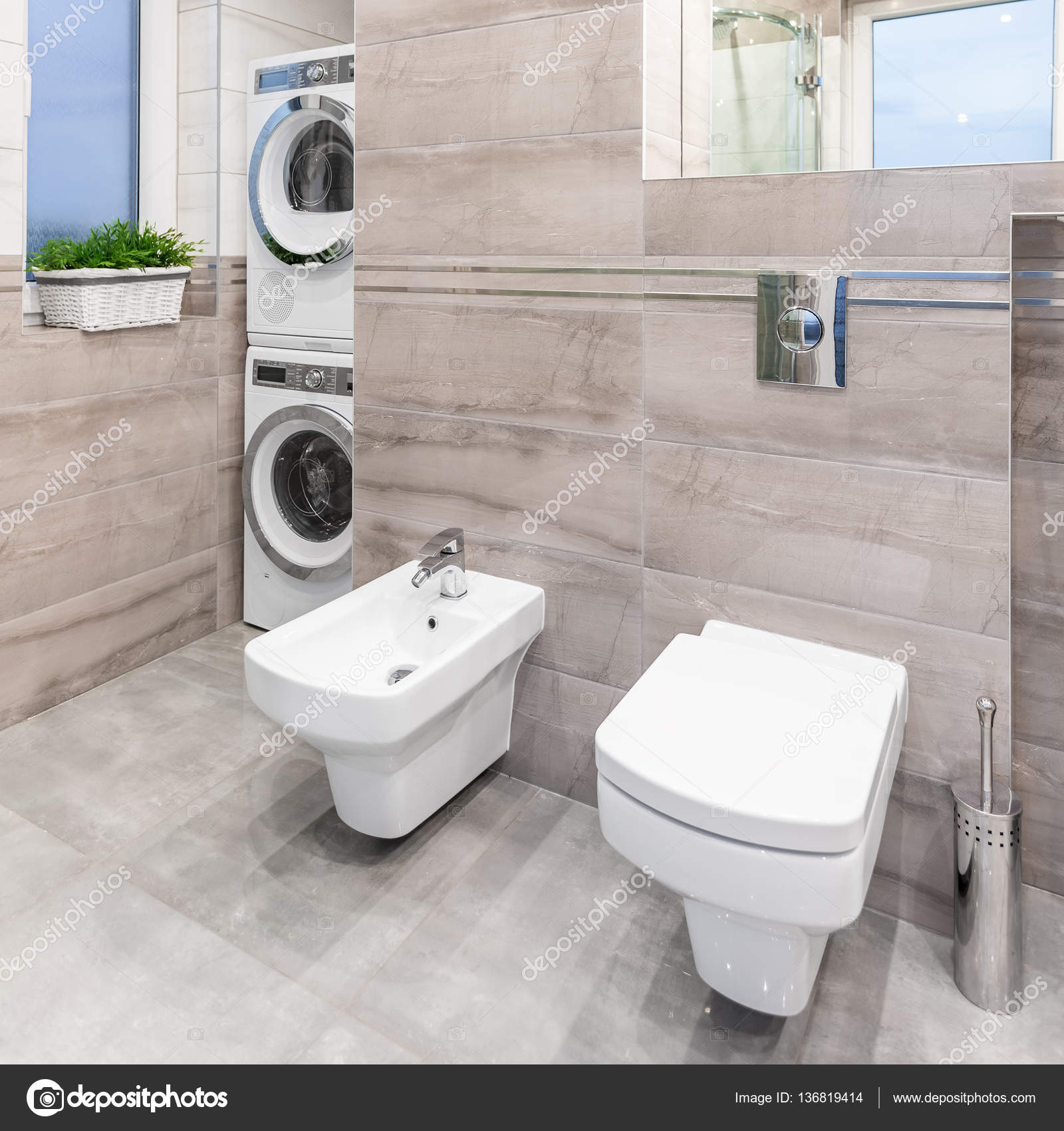 Bathroom With Toilet And Bidet U2014 Stock Photo