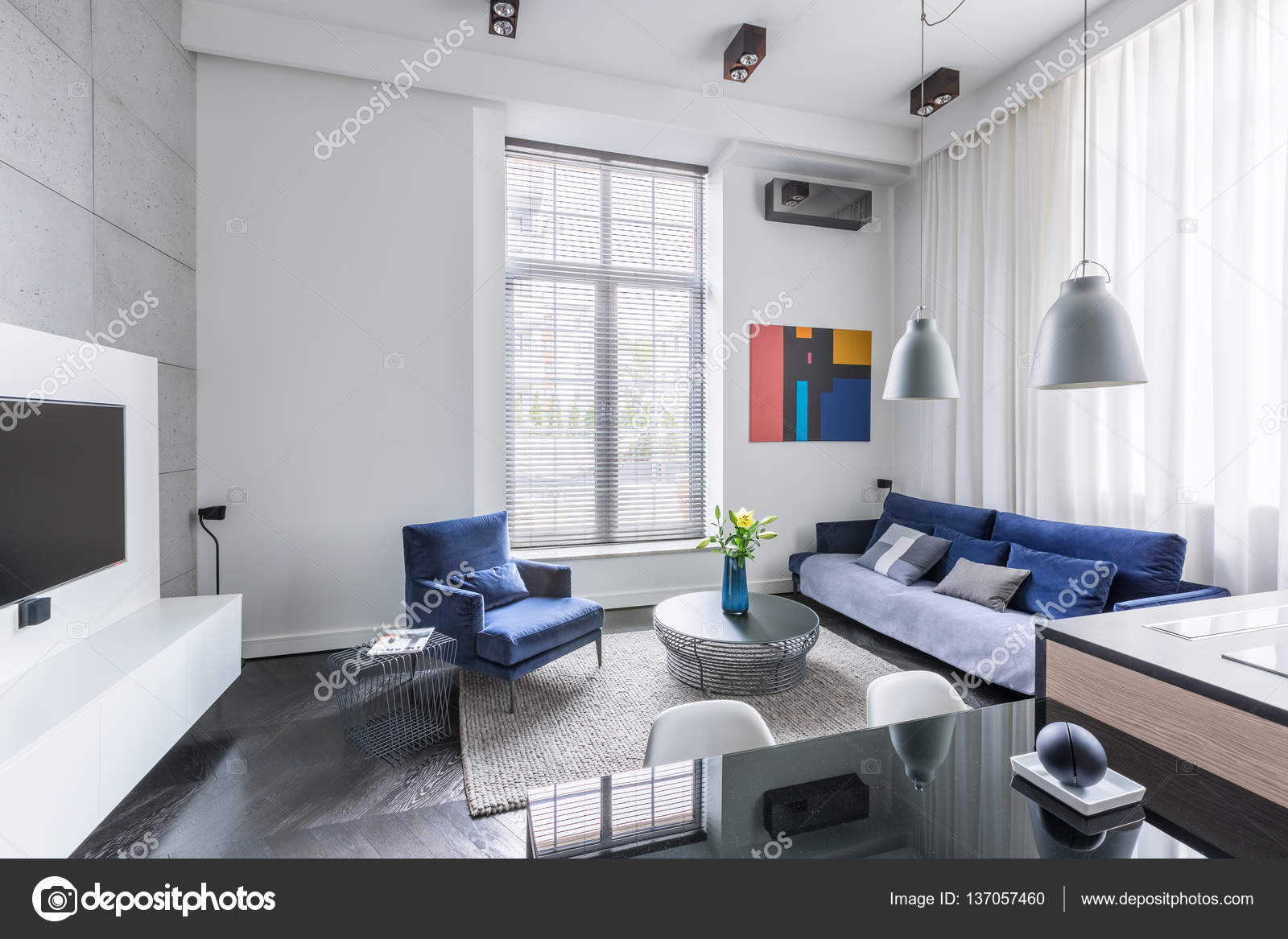 Industrial living room design — Stock Photo © in4mal #137057460