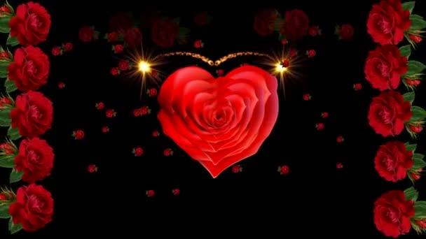 Valentinky den kvetoucí růže srdce