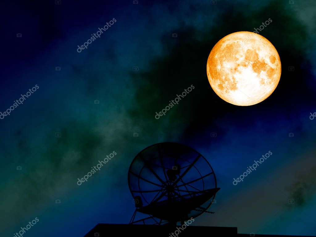 super blood moon silhouette satellite dish on colorful night sky
