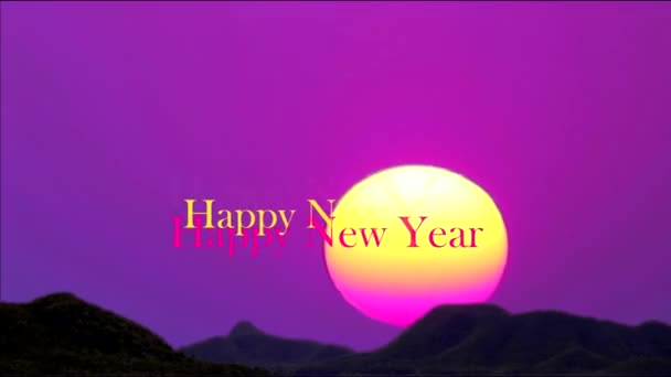 Happy New Year 2020 colorful three text and first sunrise of year