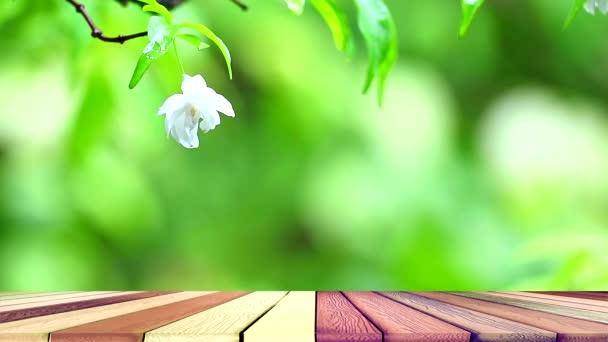 Bílé květy moku voní a houpají se ve větru v zahradě a dřevěné podlaze