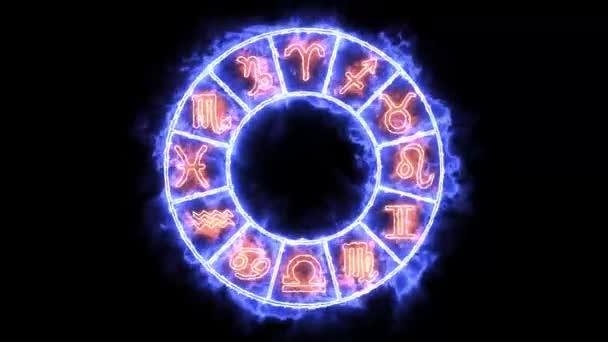 Tierkreisflamme Blinkkreis erscheint und verschwindet und alle 12 Tierkreiszeichen und Namen
