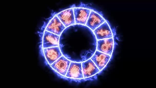 Sternzeichen zwölf Zeichen auf dem violetten Aura-Kreis rotieren