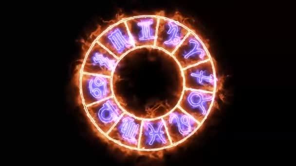 Sternzeichen zwölf und Namensschild mit Texteffekt auf der Flammenaura erscheinen langsam