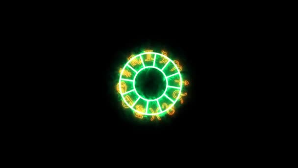Tierkreiszeichen zwölf auf dem grünen Aura-Kreis rotieren