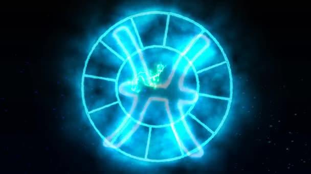 Tierkreis rotiert wachsen blinkenden Kreis erscheinen und verschwinden und zeigen alle 12 Tierkreiszeichen und Namen blauen Funkeneffekt