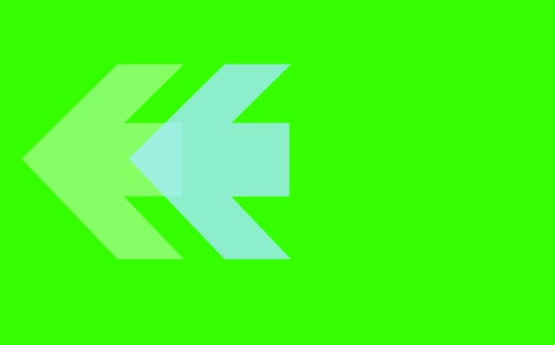 blue white arrow dark and light tone sign foue step blink and faded on green screen