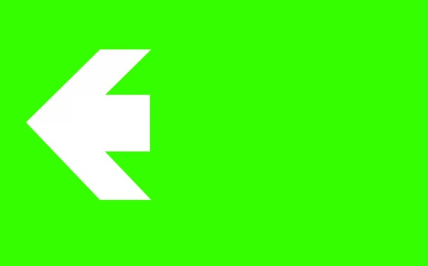 white arrow sign three step blink and faded on green screen