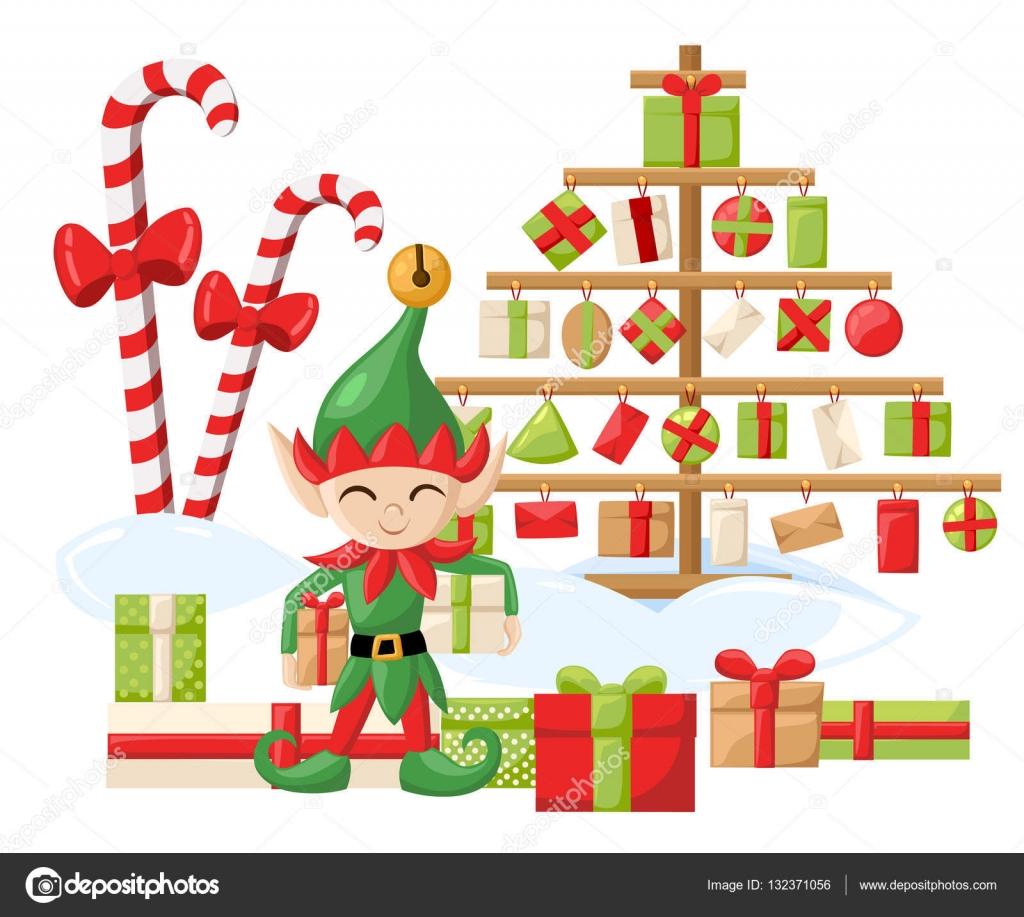 Elf Weihnachtsmann Santa s Elfen Vorbereitungen für Weihnachten ...