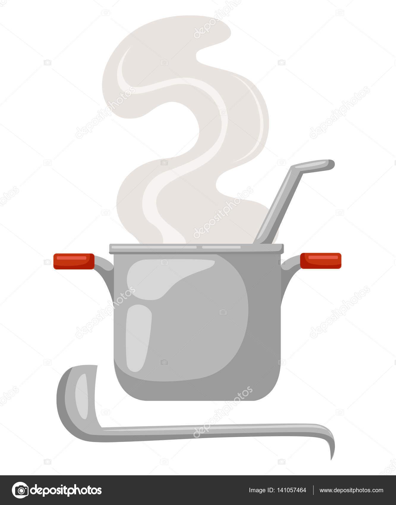 Cartoon-Topf auf einem weißen Hintergrund. Küchenutensilien. Suppe ...