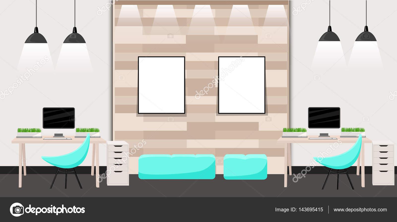 Werken plaats moderne interieur flat design vector illustratie