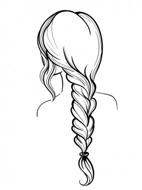 Woman Holding Her Braid set of hairstyles. Bridal hairdo. Hand drawn.