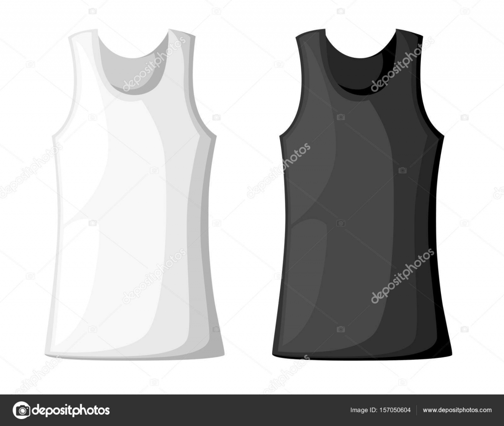 Vector illustration with realistic male shirt template womans vector illustration with realistic male shirt template womans white sleeveless tank top in front and pronofoot35fo Image collections