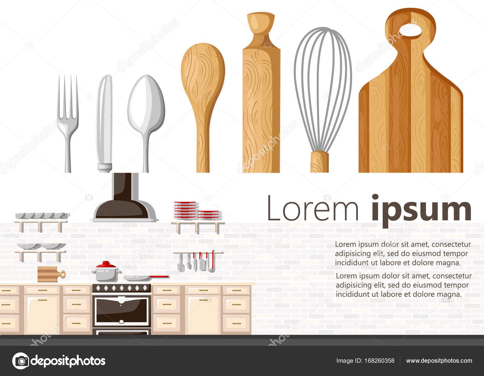 Flache Bauform Küchenkonzept Küche Ausstattung Hintergrund Vektor ...