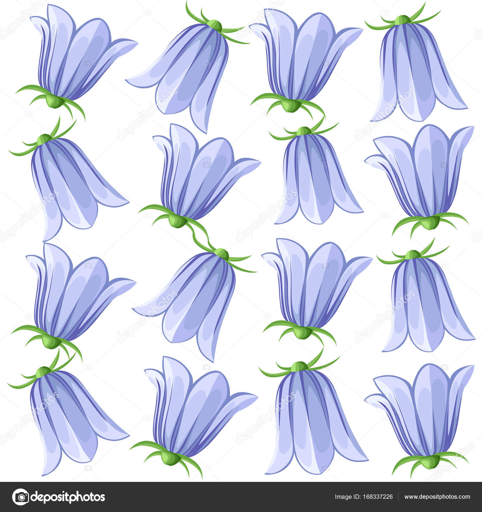 Bell flowers campanula hand drawn vector illustration blue bell bell flowers campanula hand drawn vector illustration of blue bell flowers and buds on white background vector by alfadanzockail mightylinksfo
