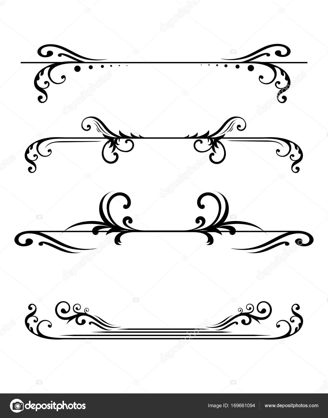 Elegant Floral Monograms Borders Design Templates Invitations Menus Labels  Wedding U2014 Stock Vector